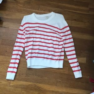Salmon and white striped sweater
